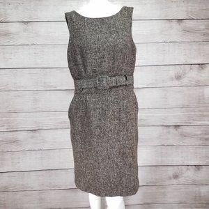 Banana Republic 8 Tweed Sheath Wool Belted Dress
